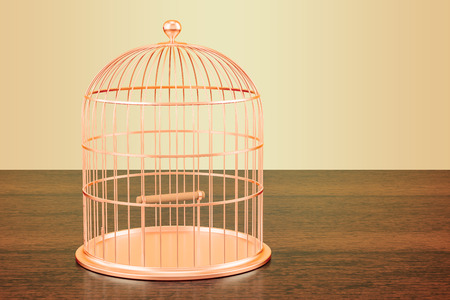 Golden bird cage on the wooden table. 3D rendering