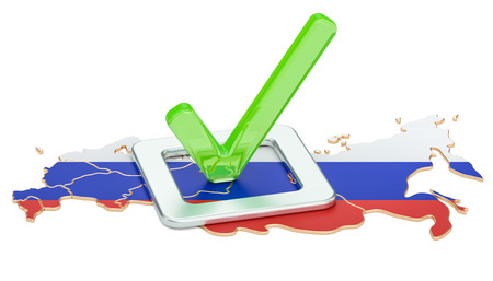 Russian election concept, vote in Russia, 3D rendering isolated on white background