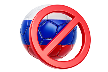 Forbidden sign with Russian soccer ball, boycott concept. 3D rendering isolated on white background Stock fotó - 97449704