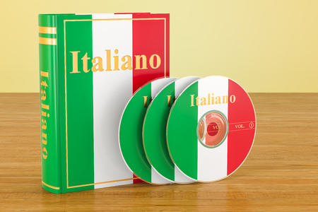 Italian book with flag of Italy and CD discs on the wooden table. 3D rendering