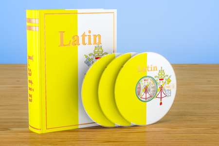 Latin language textbook with CD discs on the wooden table. 3D rendering Stock Photo