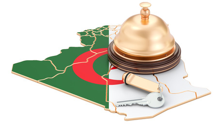 Algeria booking concept. Algerian flag with hotel key and reception bell, 3D rendering