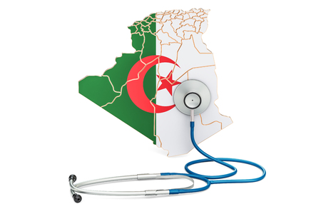 Algerian map with stethoscope, national health care concept, 3D rendering