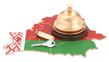 Belarus booking concept. Belorussian flag with hotel key and reception bell, 3D rendering