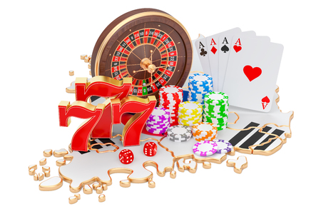 Casino and gambling industry in South Korea concept, 3D rendering isolated on white background Stock Photo