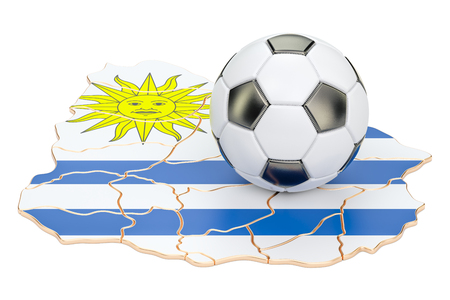 Football ball with map of Uruguay concept, 3D rendering