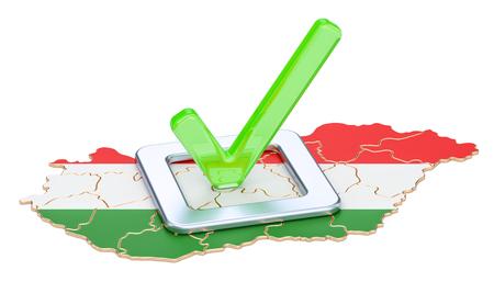 Concept électoral hongrois, vote en Hongrie, rendu 3D isolé sur fond blanc