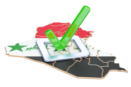 Iraqi election concept, vote in Iraq, 3D rendering isolated on white background