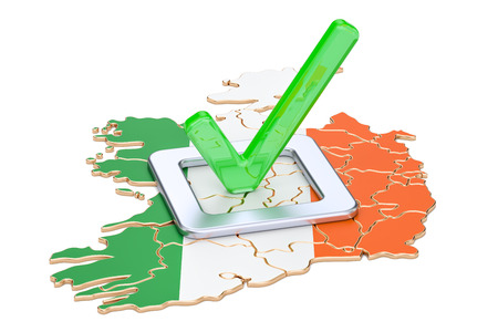 Irish election concept, vote in Ireland, 3D rendering isolated on white background