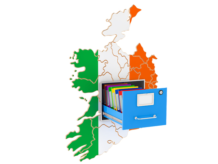 Irish national database concept, 3D rendering isolated on white background