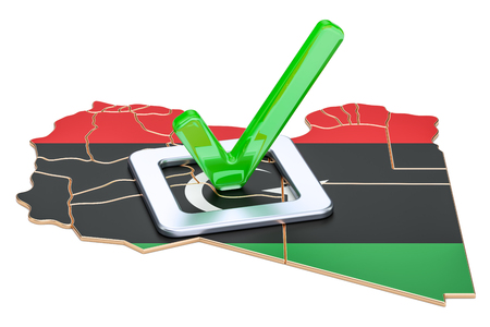 Libyan election concept, vote in Libya, 3D rendering isolated on white background