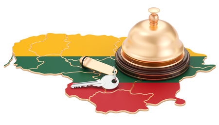 Lithuania booking concept. Lithuanian flag with hotel key and reception bell, 3D rendering