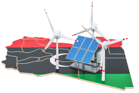 Renewable energy and sustainable development in Libya, concept. 3D rendering isolated on white background