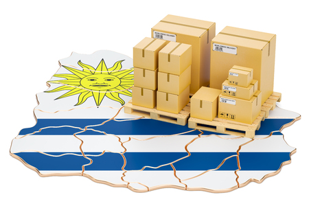 Shipping and Delivery from Uruguay isolated on white background