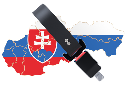 Slovak map with safety belt. Security and protect  concept, 3D rendering