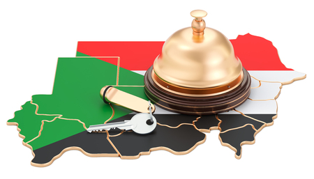 Sudan booking concept. Sudanese flag with hotel key and reception bell, 3D rendering Stock Photo