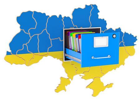 Ukrainian national database concept, 3D rendering isolated on white background
