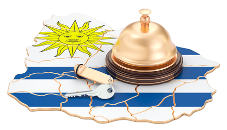 Uruguay booking concept. Uruguayan flag with hotel key and reception bell, 3D rendering