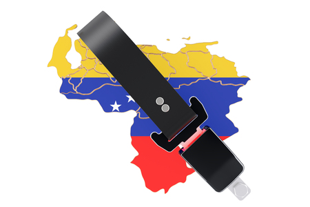 Venezuelan map with safety belt. Security and protect or insurance concept, 3D rendering