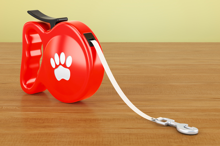 Automatic Retractable Traction Rope. Walking Lead Leash on the wooden table. 3D rendering