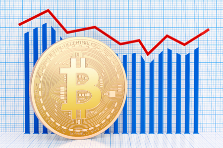 Bitcoin with growing chart. 3D rendering isolated on white background Stock Photo