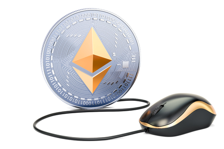Ethereum coin with computer mouse. Mining concept, 3D illustration isolated on white background
