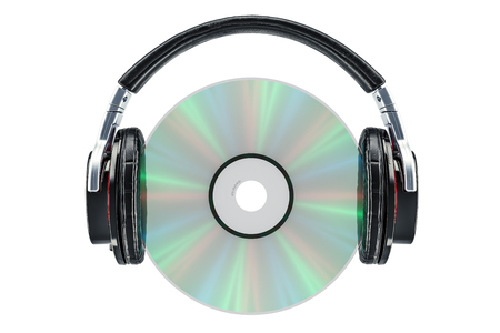 Headphones with compact disc, 3D rendering isolated on white background