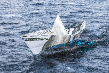 Dollar Ship swimming in the sea. 3D rendering Stock Photo