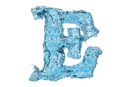 Water letter E, 3D rendering isolated on white background