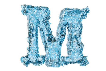 Water letter M, 3D rendering isolated on white background 写真素材