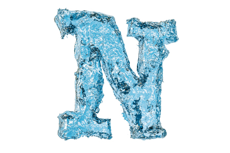 Water letter N, 3D rendering isolated on white background