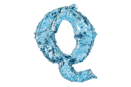 Water letter Q, 3D rendering isolated on white background 스톡 콘텐츠