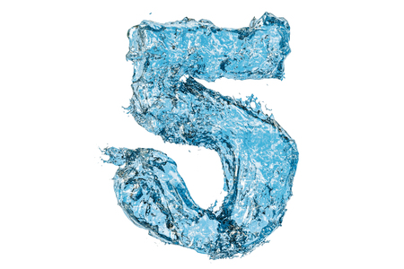 Water number 5, 3D rendering isolated on white background