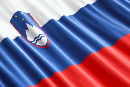 Slovenian flag background, 3D rendering