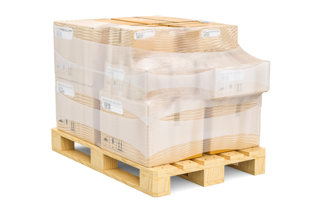 Wooden pallet with parcels wrapped in the stretch film, 3D rendering isolated on white background