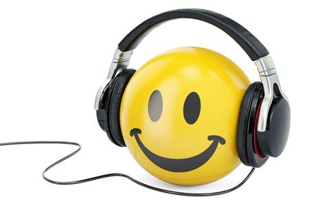 Yellow emoticon smile with headphones, 3D rendering Stock Photo