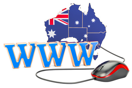 Internet connection in Australia concept. 3D rendering isolated on white background