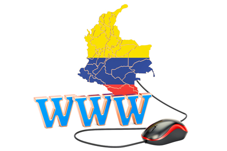 Internet connection in Colombia concept. 3D rendering isolated on white background Stock Photo