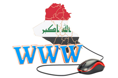 Internet connection in Iraq concept. 3D rendering isolated on white background