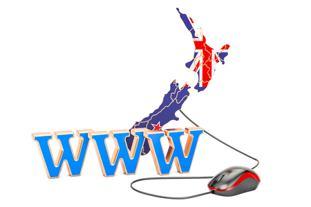 Internet connection in New Zealand concept. 3D rendering isolated on white background