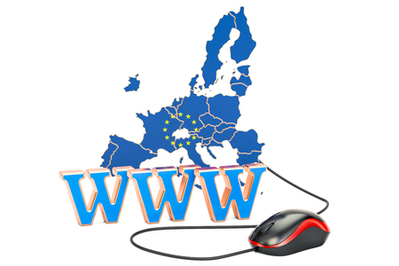 Internet connection in the European Union concept. 3D rendering isolated on white background Stock Photo