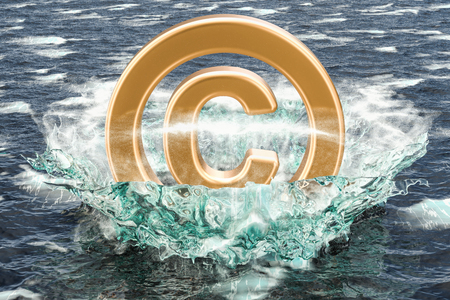 Copyright symbol in the sea. 3D rendering
