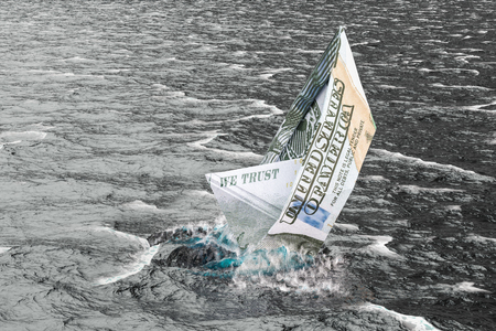 Dollar ship drowning in water. 3D rendering