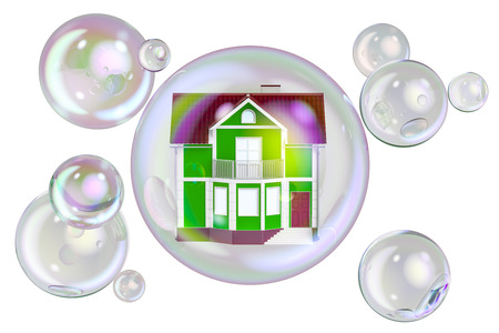 Property Bubble concept, 3D rendering isolated on white background