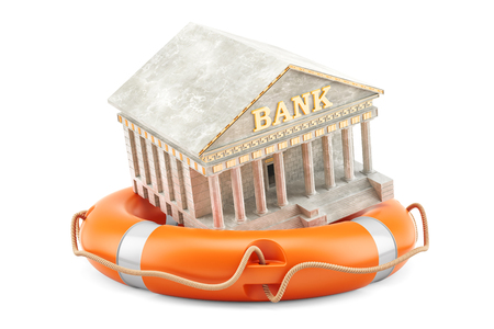 Lifebuoy with bank building, financial protect and security concept. 3D rendering Stock Photo