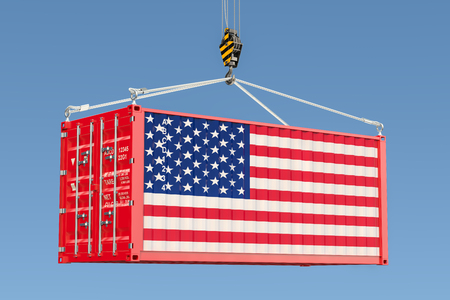 Cargo container with American flag hanging on the crane hook against blue sky, 3d rendering  Фото со стока