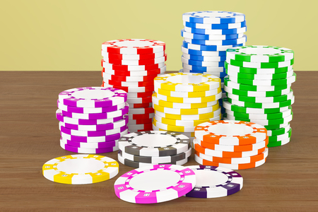 Casino tokens on the wooden table. 3D rendering