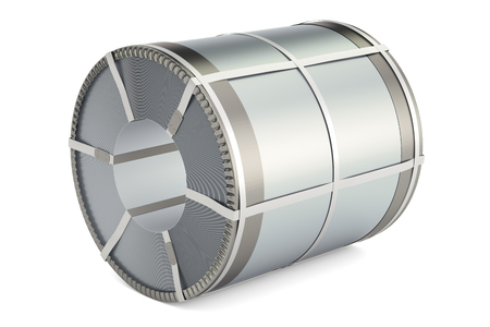 Roll of steel sheet, stainless steel coil. 3D rendering isolated on white background