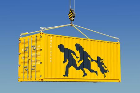 Migrant smuggling, illegal entry concept. 3D rendering Banco de Imagens