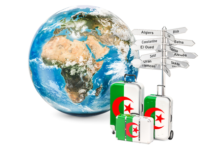 Algeria travel concept. Suitcases with Algerian flag, signpost and Earth globe. 3D rendering Stok Fotoğraf - 98859350